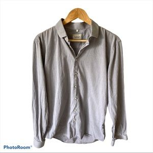 Frank&Oak Mens Large Slim Gray Button Down Shirt